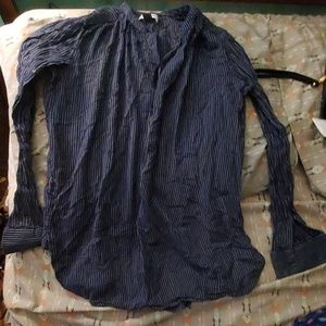 (3 for $10) Navy stripe button up
